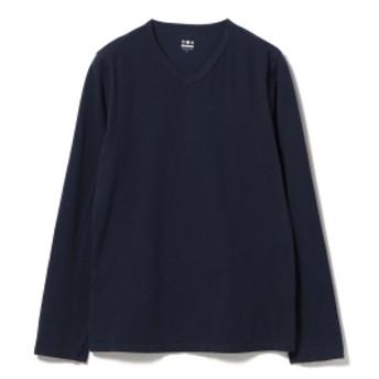BEAMS F three dots / 別注 ロングスリーブ VネックTシャツ メンズ Tシャツ NIGHT IRIS/781 M