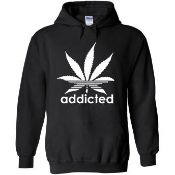 Addicted Cannabis Weed Logo Novelty Black Men Women Unisex Hooded Sweatshirt Hoodie-XXL