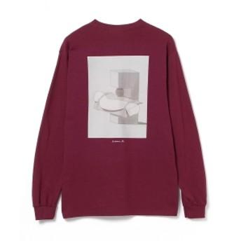 BEAMS T BEAMS T / MAKE ART NOW Long Sleeve Tee -カワイハルナ- メンズ Tシャツ BURGUNDY L