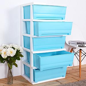 【HOUSE】大面寬-夏日超大五層玩具衣物收納櫃(多色可選)藍色