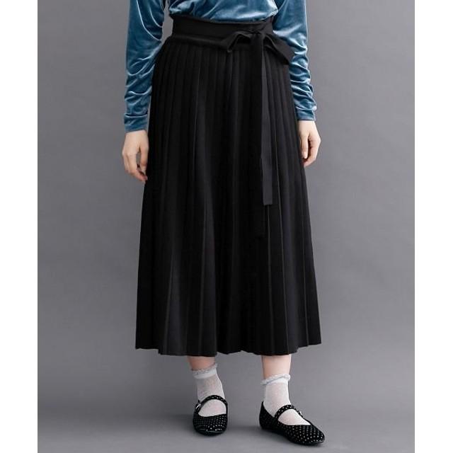 メルロー ウエストリボンニットプリーツスカート レディース ブラック FREE 【merlot】