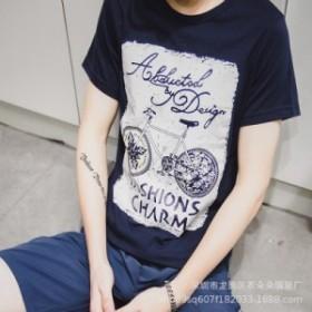 2019夏の半袖男性Tシャツの新型ファッション男装韓国版のゆったり半袖Tシャツブームの在庫一掃