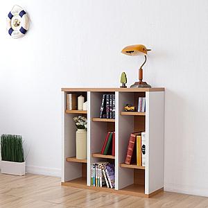 《Accessco》日系雙色九格厚板收納書櫃(原木白)