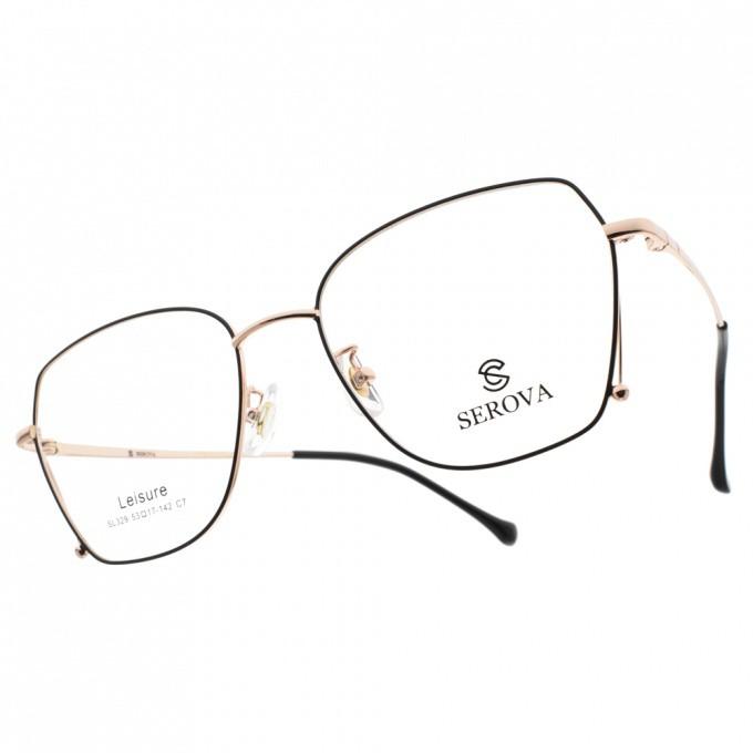 SEROVA 光學眼鏡 SL329 C7 多邊造型金屬框款-金橘眼鏡