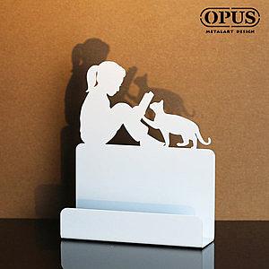 OPUS 歐式鐵藝名片座/名片架/商務名片盒(閱讀女孩_白)