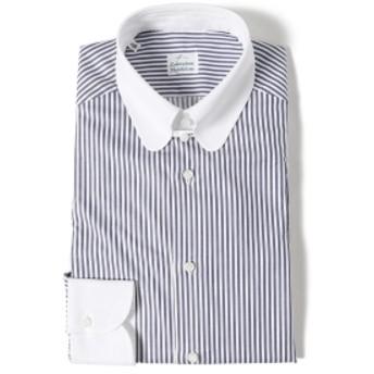 BEAMS F Laboratorio Napoletano / キャンディーストライプ クレリック ラウンドタブカラーシャツ メンズ ドレスシャツ NAVY/14 38