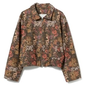 fennica <WOMEN>A New Dawn Bathes The World In A Fresh Light. by mo / フローラルプリント ジップアップジャケット ブルゾン BROWN M