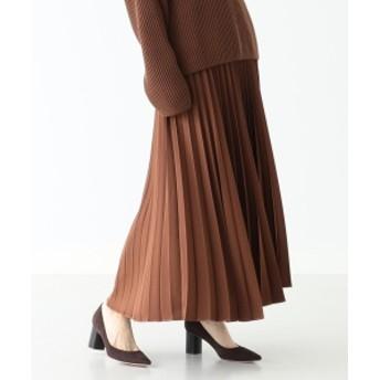 Demi-Luxe BEAMS 【BAILA12月号掲載】【VERY12月号掲載】Demi-Luxe BEAMS / サテン プリーツスカート レディース マキシ・ロング丈スカート BROWN 36