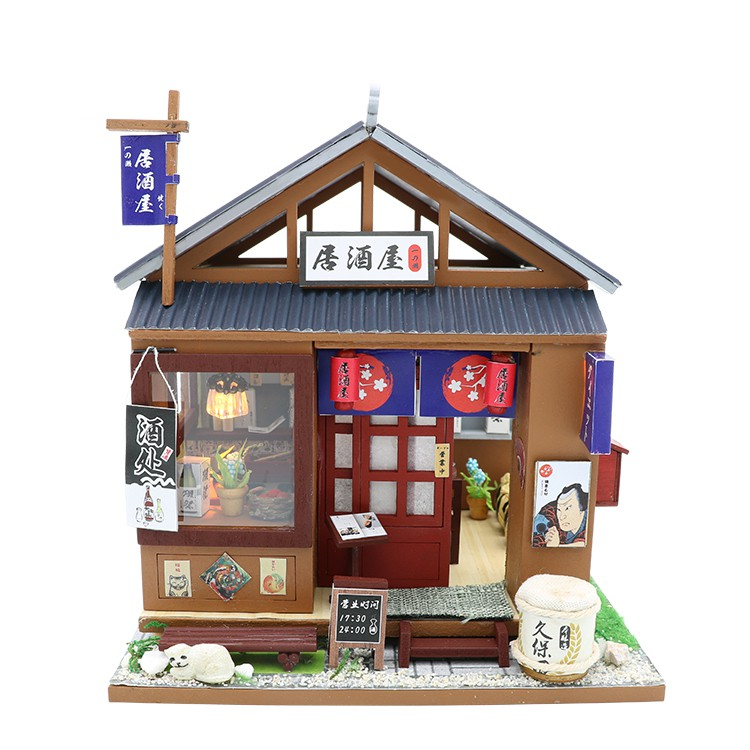 Cutebee Diy小屋袖珍屋 日式風格酒屋 現貨附防塵罩音樂盒LED燈 微景觀娃娃屋 手工製作小房子模型拼裝交換禮物