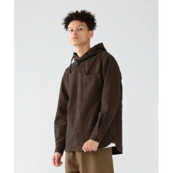 Pilgrim Surf+Supply Pilgrim Surf+Supply / Boyce Herringbone Wool Hooded Shirt メンズ カジュアルシャツ BROWN S