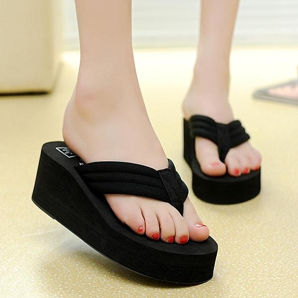 拖鞋女夏時尚外穿鬆糕厚底坡跟防滑人字拖
