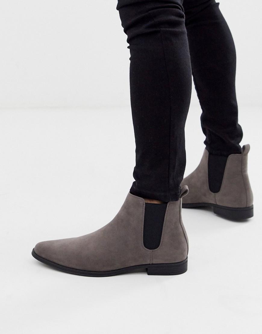 ASOS DESIGN chelsea boots in grey faux suede