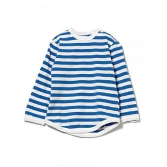 こども ビームス こども ビームス / 1cmボーダー 長袖 ベビーTシャツ (80~90cm) キッズ Tシャツ ブルー XS(80-90)