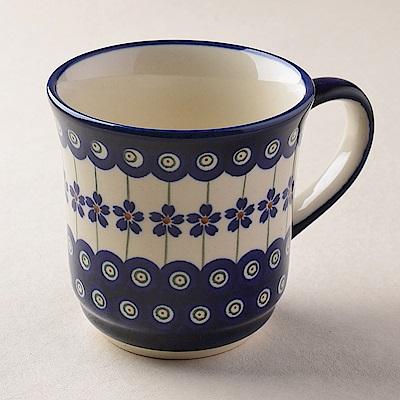 波蘭陶 藏青小卉系列 陶瓷馬克杯 380ml 波蘭手工製
