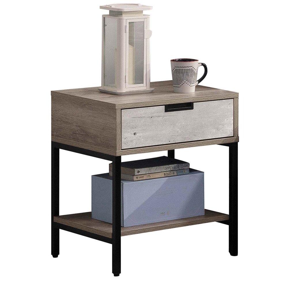 清水模一抽小茶几休閒桌邊桌客廳桌咖啡桌沙發電話子母桌床頭櫃【163B4501】Leader傢居館F103+HY01