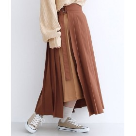 メルロー アシメプリーツラップスカート レディース ブラウン FREE 【merlot】