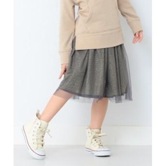 B:MING by BEAMS B:MING by BEAMS / ラメ チュール スカート 19AW キッズ 膝丈スカート CHARCOAL.G 90