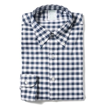BEAMS F Brooks Brothers / ギンガムチェック ボタンダウンシャツ メンズ ドレスシャツ NAVY/100143142 15.5
