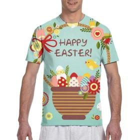 Longgongtongxin Tシャツ ポケT メンズ 半袖 綿100% 夏 復活祭 ハッピー イースター イースターバニー 創意デザイン ファション カジュアル おもしろ 大きい サイズ ゆったり 男女兼用 トップス L