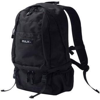 ジーナイン MILKFED ミルクフェド big backpack bar 2 リュック バックパック レディース 通勤 通学 ナイロン ボックスロゴ ストリート カジュア ユニセックス ブラック FREE 【G.NINE】
