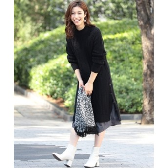 B:MING by BEAMS B:MING by BEAMS / ケーブル編み コンビワンピース 19AW レディース ワンピース BLACK ONE SIZE
