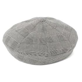 Ray BEAMS Ray BEAMS / エイト パネル チェック ベレー帽 レディース ハンチング・ベレー帽 GREY ONE SIZE