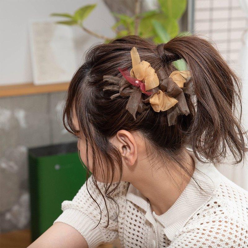 迷你  咖啡廳  彩色花朵針織髮夾/髮夾
