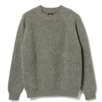 BEAMS BEAMS / アゼ編み クルーネック ニット メンズ ニット・セーター TOP GREY L