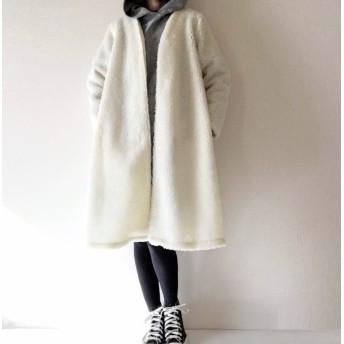 もこもこボアのロングコート*羽織り*ホワイト