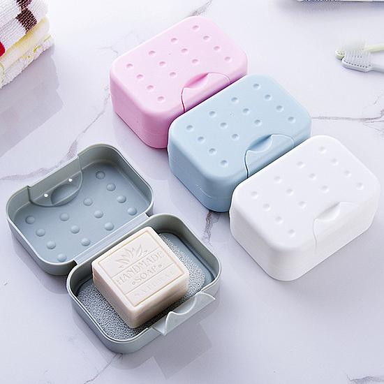 旅行便攜帶鎖扣肥皂盒 有蓋 防水 皂架 帶吸水海綿墊 洗臉 香皂盒【P402】MY COLOR