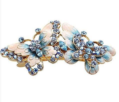 藍發夾 蝴蝶結髮飾 彈簧夾