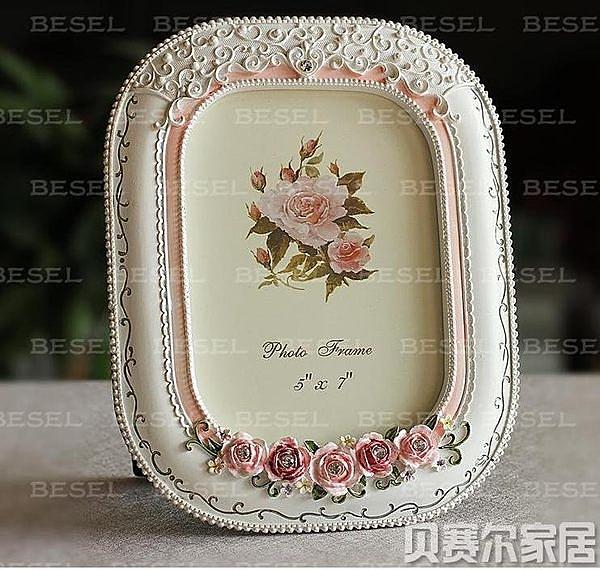 田園樹脂相框 立體玫瑰裝飾