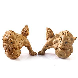 黃楊木雕獅子擺件 鎮宅化煞辟邪工藝品擺設家居飾品