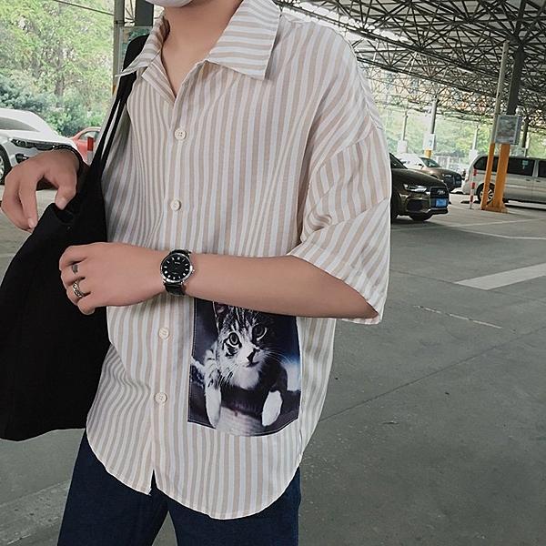 FINDSENSE H1 2018 夏季學生個性  條紋襯衫 韓國 寬松 翻領