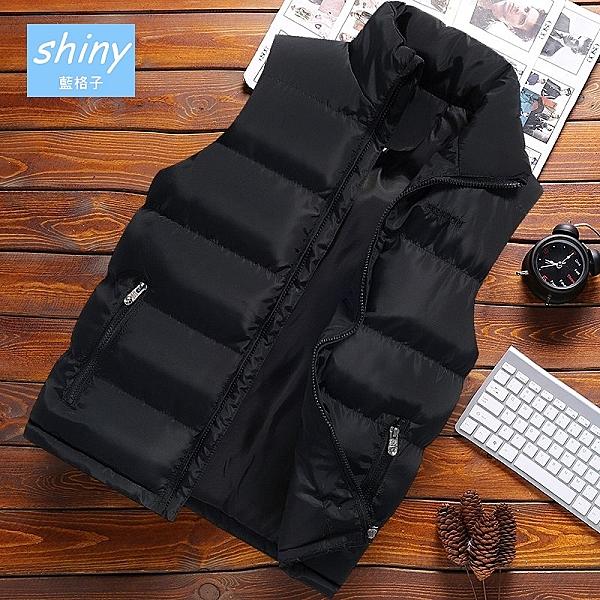 【Y215】shiny藍格子-溫暖必備.秋冬季男修身保暖羽絨棉背心外套