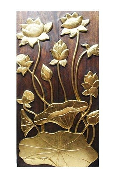 泰式風情 木雕 掛件 浮雕 荷花