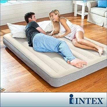 【INTEX】新型氣柱-雙人加大植絨充氣床墊-寬152cm(64103)