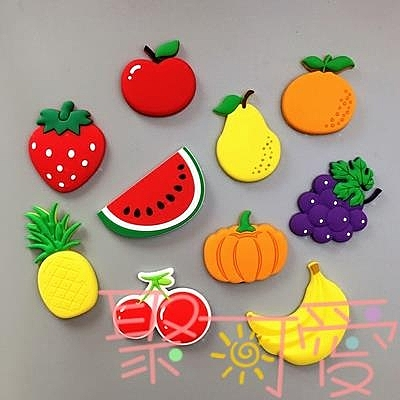 冰箱貼磁貼可愛卡通水果軟磁貼軟膠帖照片吸一套【聚可愛】