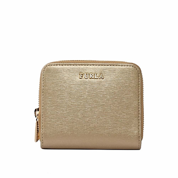 【FURLA】素面皮革ㄇ型拉鏈短夾(金色) 806853
