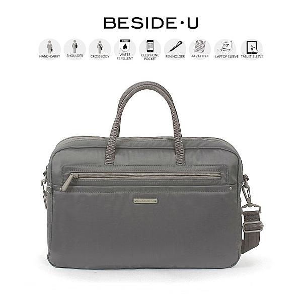 背包族【BESIDE-U】NUTOPIA系列 都會時尚3Way電腦公事包/ 手提包(灰色)_BNU018