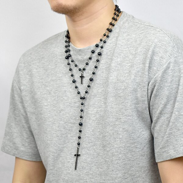 十字架項鍊 個性雙層黑七里香長鍊【NBE16】