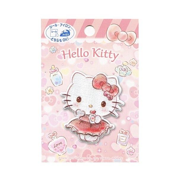 〔小禮堂〕Hello Kitty 造型燙布貼《粉.香水瓶》刺繡燙貼.布飾 4977576-81093