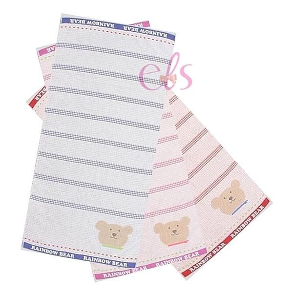 日本RAINBOW BEAR 彩虹熊 浴巾 約60*124cm 條紋款 三色供選 ☆艾莉莎ELS☆