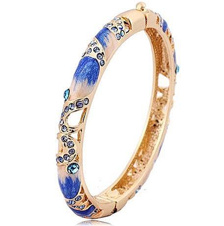 女寬時尚複古手環鐲子 鏤空琺琅鍍金首飾