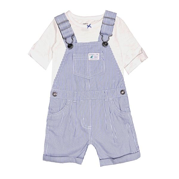 女寶寶吊帶褲套裝 吊帶短褲+短袖T恤 二件組 藍直條 | Carter s卡特童裝 (嬰幼兒/兒童/小孩)