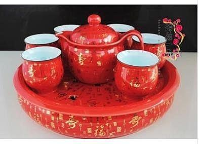 紅金福壽 茶具套裝 帶茶盤 帶過濾網