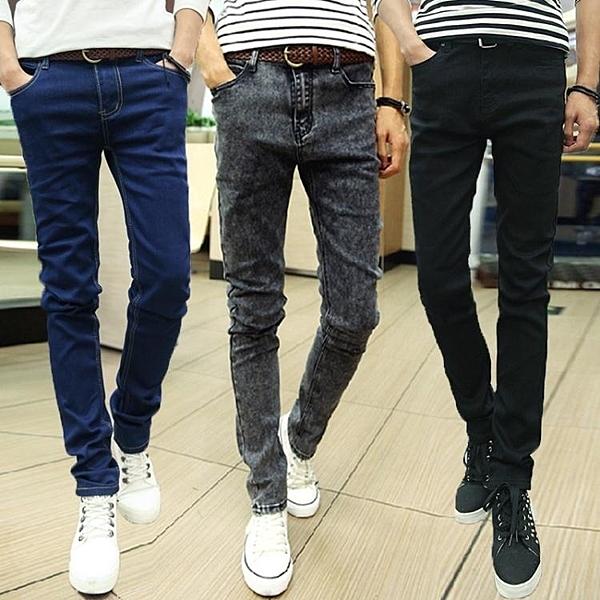 牛仔褲—夏季薄款男士牛仔褲男修身小腳褲男生韓版潮流男褲青年黑色褲子男