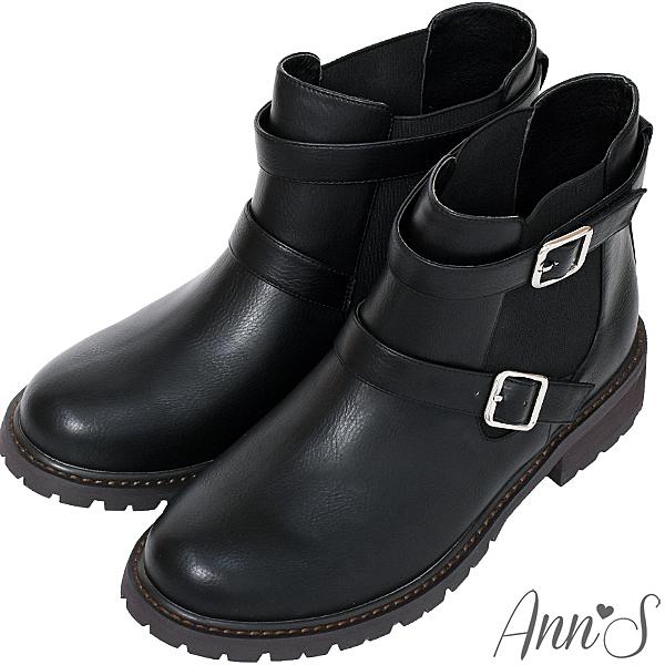 Ann'S 兩穿雙扣帶後跟星星鉚釘小男孩平底短靴  黑