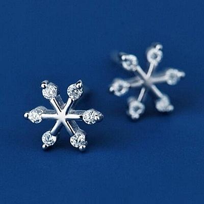 925純銀耳環 鑲鑽(耳針式)-有型雪花生日母親節禮物女飾品73ag201【巴黎精品】
