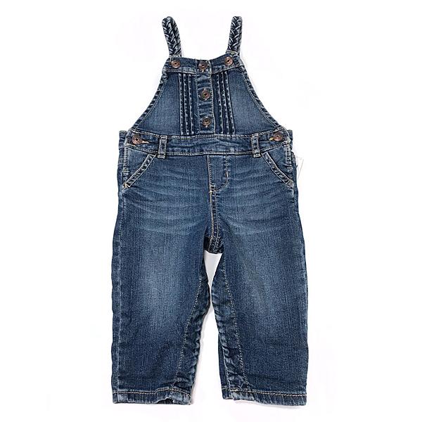 OSHKOSH 麻花繩細肩帶牛仔吊帶長褲 深藍 | 女寶寶吊帶褲裝(嬰幼兒/兒童/小孩)
